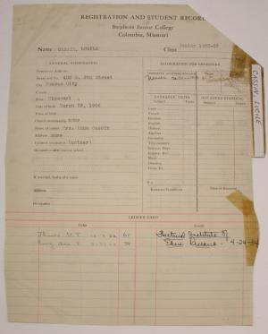 "Lucile ""Billie"" Cassin's Stephens College transcript (courtesy of the Stephens College Library Archives)"